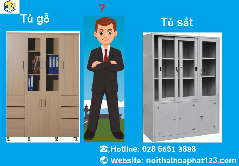 so sánh tủ sắt và tủ gỗ hòa phát